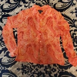 Ann Taylor, 100 percent silk, sheer, coral button